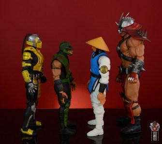 storm collectibles mortal kombat reptile figure review - facing cyrax,raiden and shao khan