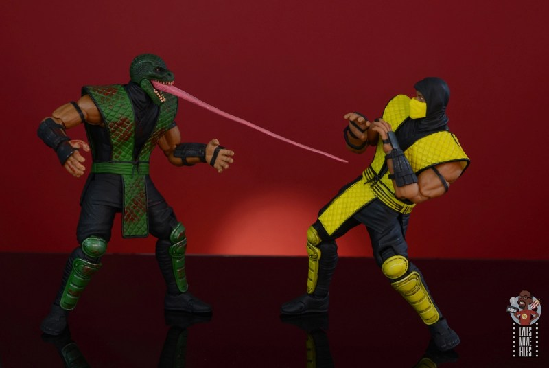 storm collectibles mortal kombat reptile figure review - lashing out at scorpion