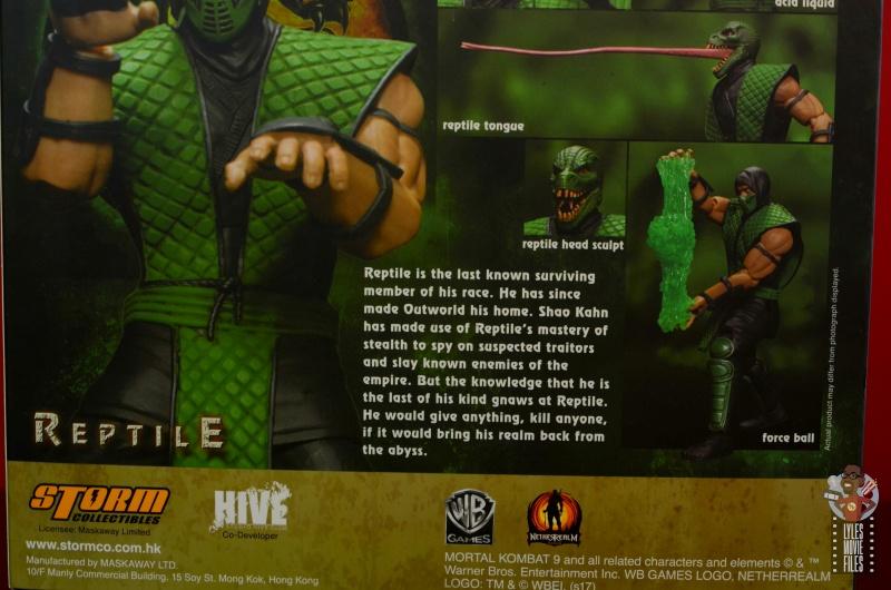 storm collectibles mortal kombat reptile figure review - package bio