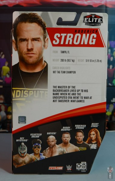 wwe elite 72 roderick strong figure review - package rear