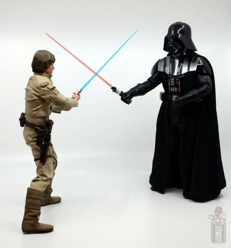 hot toys empire strikes back darth vader figure review - face off with luke skywalker