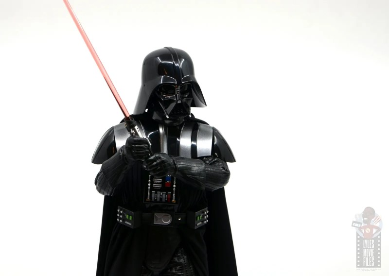 hot toys empire strikes back darth vader figure review - holding lightsaber with both hands