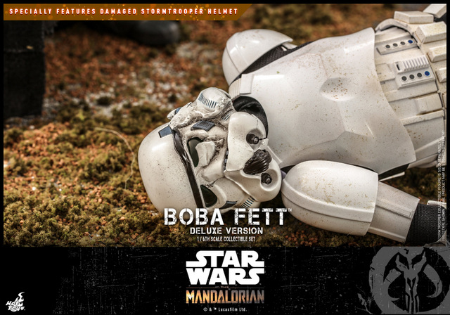 hot toys the mandalorian boba fett figure -stormtrooper helmet