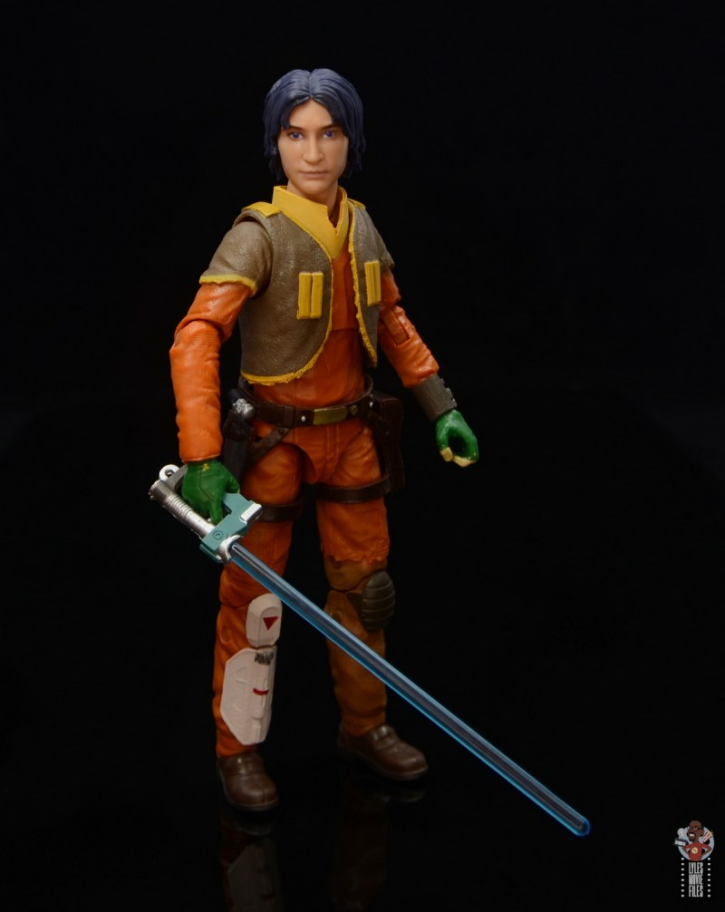 star wars the black series ezra bridger figure review - with lightsaber ready