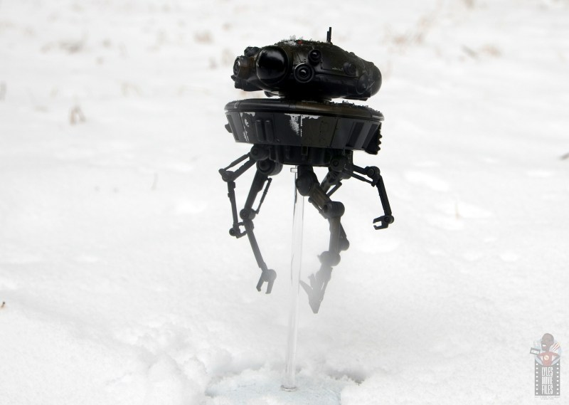 star wars the black series imperial probe droid figure review -going through the snow