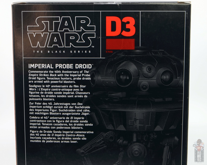star wars the black series imperial probe droid figure review -package bio