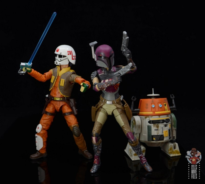 star wars the black series sabine wren figure review - battle mode with ezra and chopper