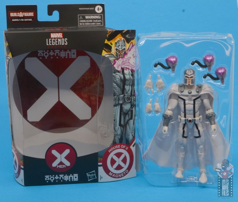 marvel legends house of x magneto figure review - package insert and figure in tray