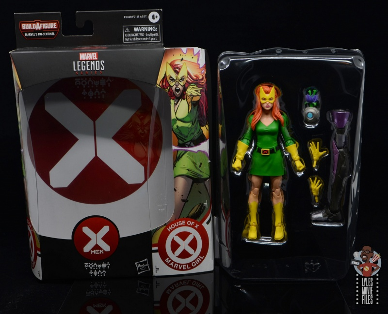 marvel legends house of x marvel girl figure review - package insert and figure in tray