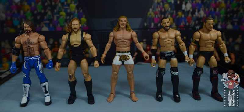 wwe elite 78 matt riddle figure review - scale with aj styles, pete dunne, bobby fish and kyle o'reilly