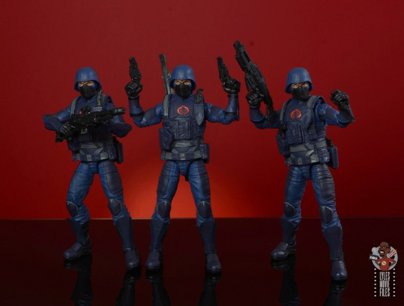 gi joe classified cobra infantry review - holding sniper rifle, two pistols and blaster