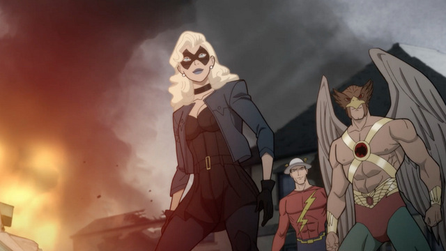 justice society of america world war ii review - black canary, flash and hawkman