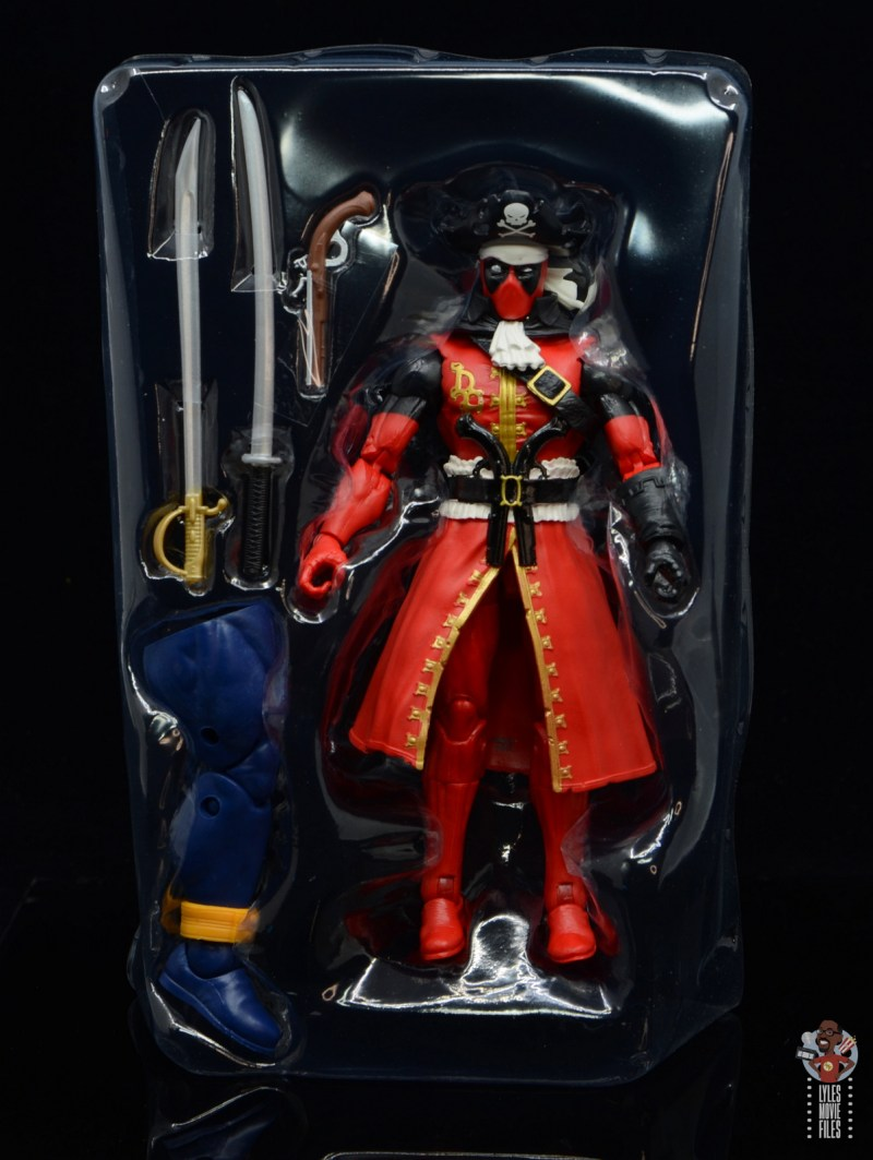 marvel legends pirate deadpool review - accessories in tray