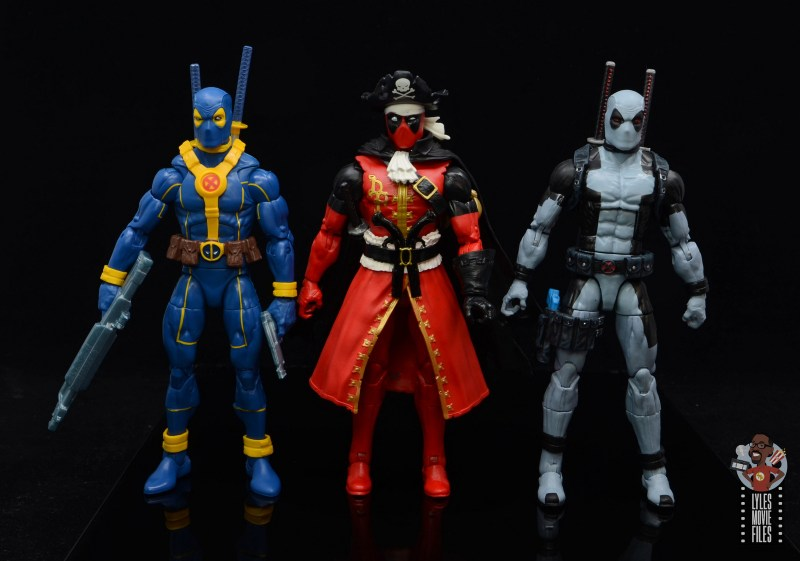 marvel legends pirate deadpool review - scale with blue and yellow and x-force deadpool