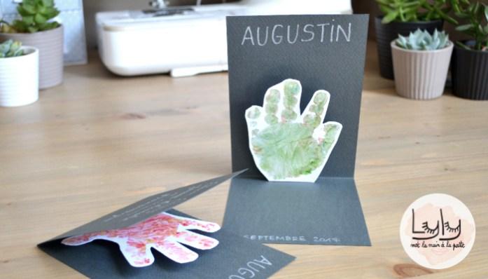 DIY Tuto : réaliser des cartes à empreintes pop-up pour les grands parents ou pour des faire-parts. Une activité à faire avec les enfants !