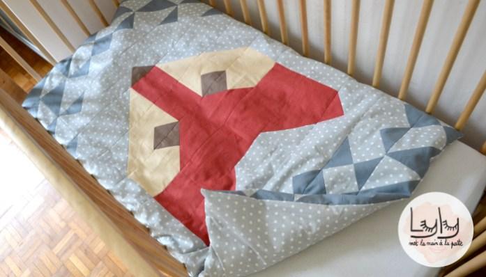 DIY tutoriel couture bébé : coudre une housse de couette en patchwork motif renard, parfait pour être au chaud cet automne