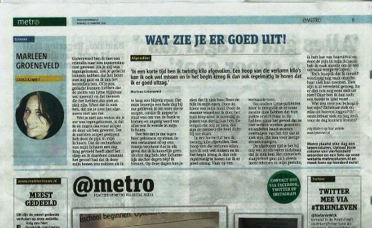 Column in de Metro - Lyme Awareness