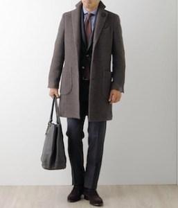 ブラウンのチェスターコート×ブルーのシャツ×ビジネススーツ