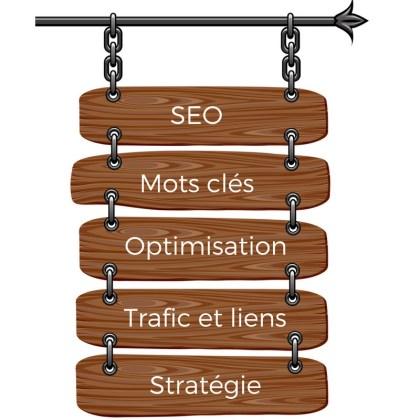Enseigne avec les inscriptions SEO, mots-clé, optimisation, trafic et liens, stratégie