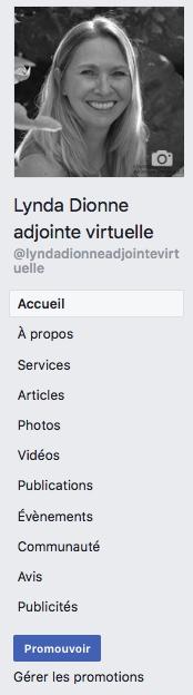 Illustration à quoi ressemble le menu d'une page Facebook