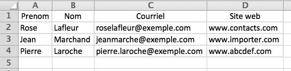 Tableau Excel en exemple pour le transfert de contacts