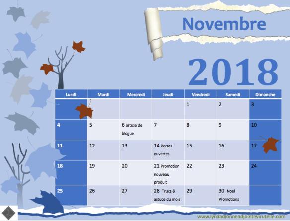agenda mois novembre 2018 contenu pour vos infolettres