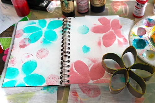 Flower stamped pages in progress