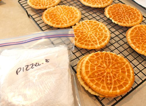 pizzelles ready for the freezer