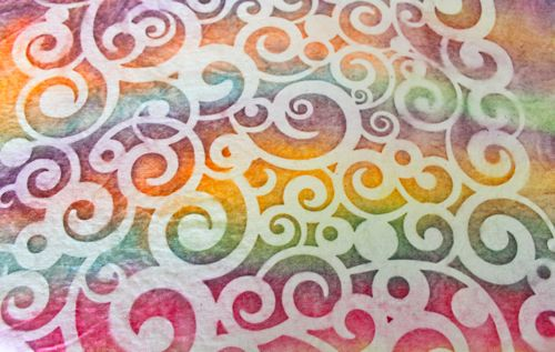 Drill fabric with cosmic swirl stencil