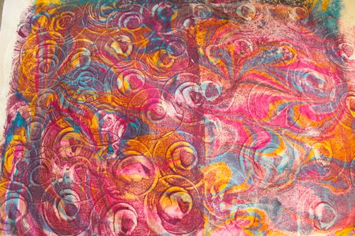 Marbled fabric gelli printed