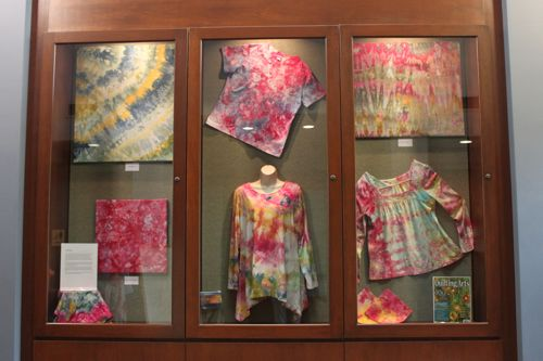 My ice-dyed fabric exhibit at North Park Library