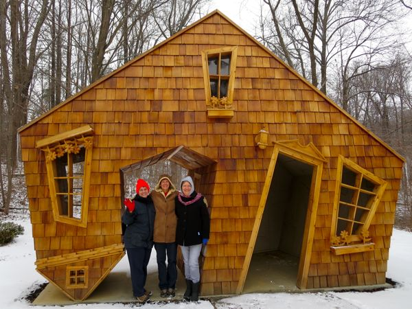 Carla, Connie and I in front of the Upside Down House