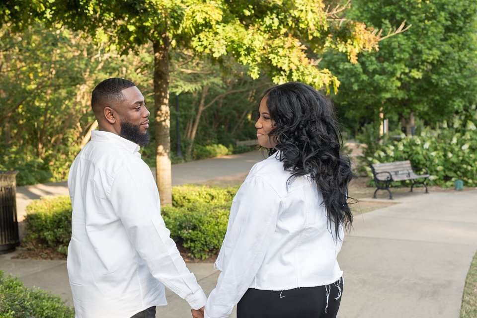 The happy couple as they gazed into each other's eyes during their piedmont park engagement session