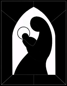 Silhouette of Madonna and Child
