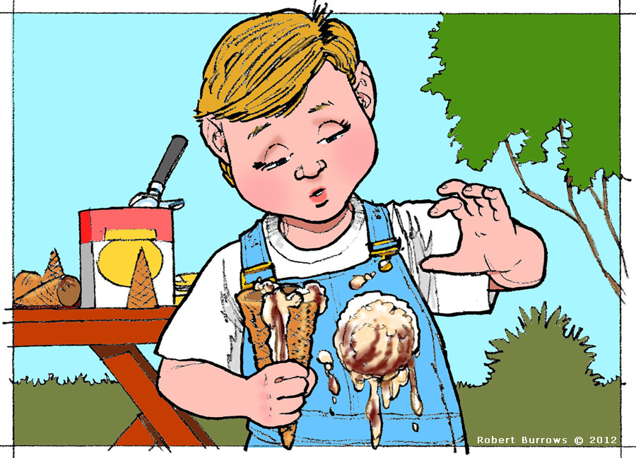 image of a little boy whose ice cream scoop is falling off his cone