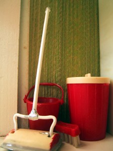 Image of sweeper and cleaning supplies. It's not the dust bunny's fault.