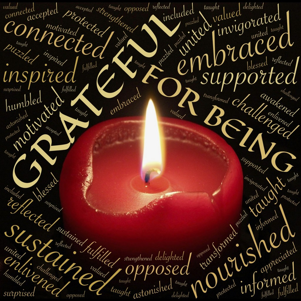 Candle and words of gratitude