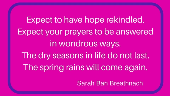 quote by Sarah Ban Breathnach about Expect to have hope rekindled