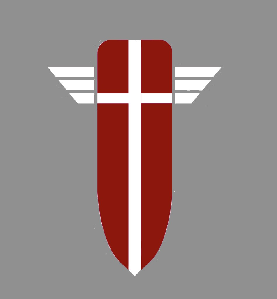 For the Sneak Peek, If I Should DIe, Chapter 5, an Image of the Fellowship shield-a red shield sectioned by a white cross with stylized wings extending from the top third of the shield.