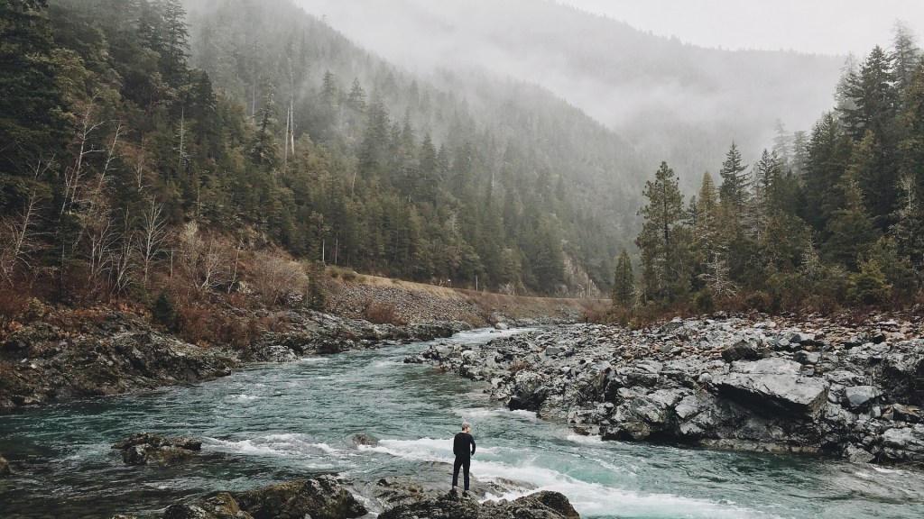 Image of a man on the rocky shore of a river running through a valley between pine covered mountains. How long would you survive?