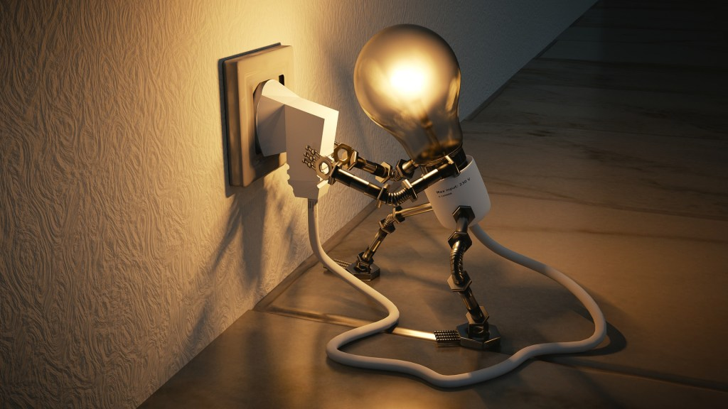 Image of a light bulb plugging itself in-undo the brainwashing: be creative.