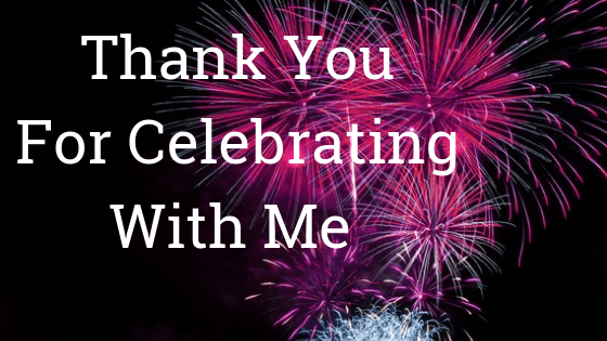 Image of a bright fuscia fireworks display on black background with the words, Thank You for Celebrating with on it.