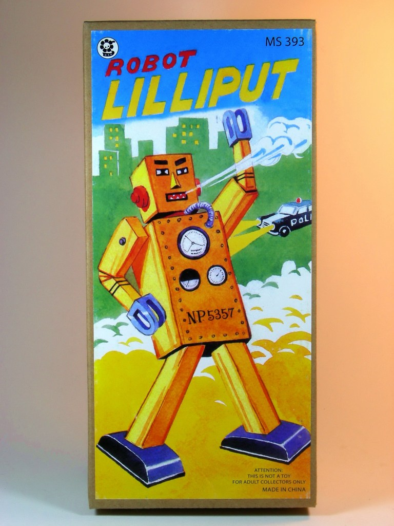 Image of the toy: Giant Lilliput Robot box  Robots and A.I. will challenge our humanity.