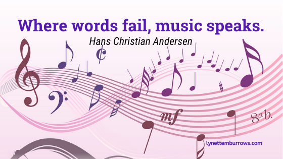 "Image of a wave of musical notes and the quote, ""Where words fail, music speaks."" by Hans Christian Andersen--We've always known music is good for you"