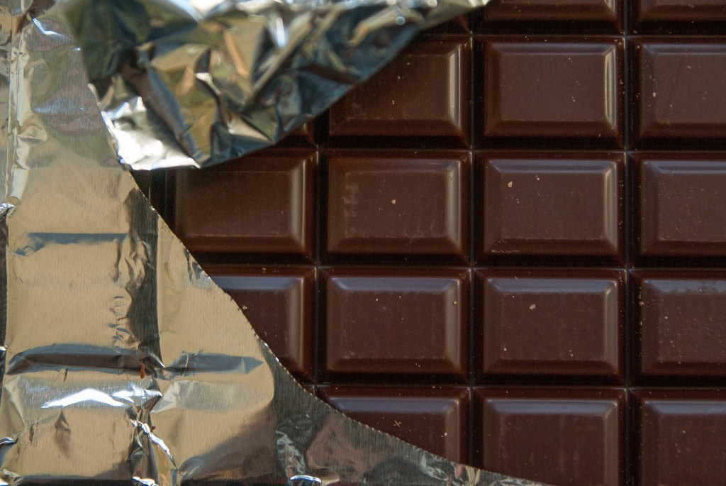 Image of foil wrapped chocolate--Does stress make you reach for chocolate like it does me?