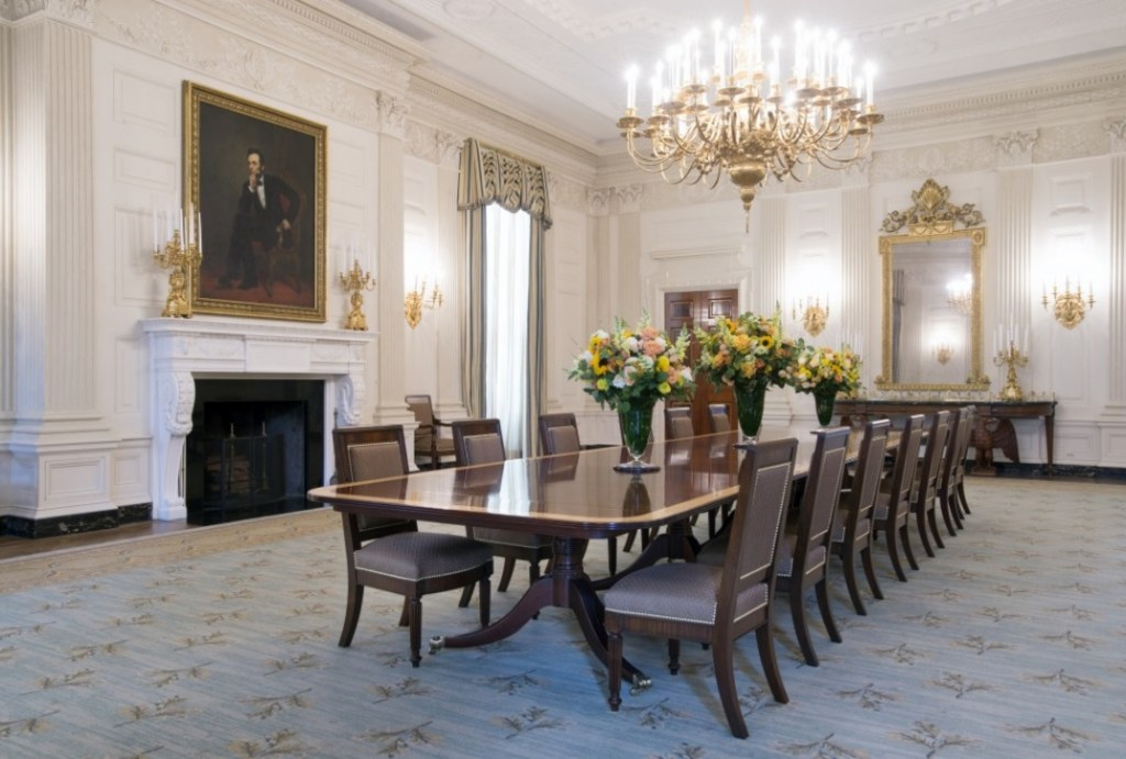 Image of the 2015 State Dining Room in the White House--a slightly different appearance than what is in this sneak peak of If I Should Die