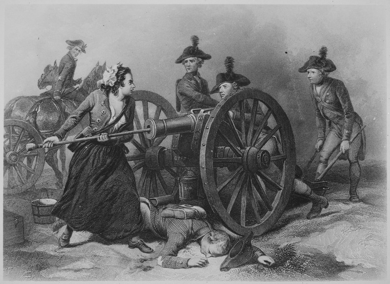 Public Domain image of engraving of Molly Pitcher at the Battle of Monmouth, a revolutionary war hero margaret corbin