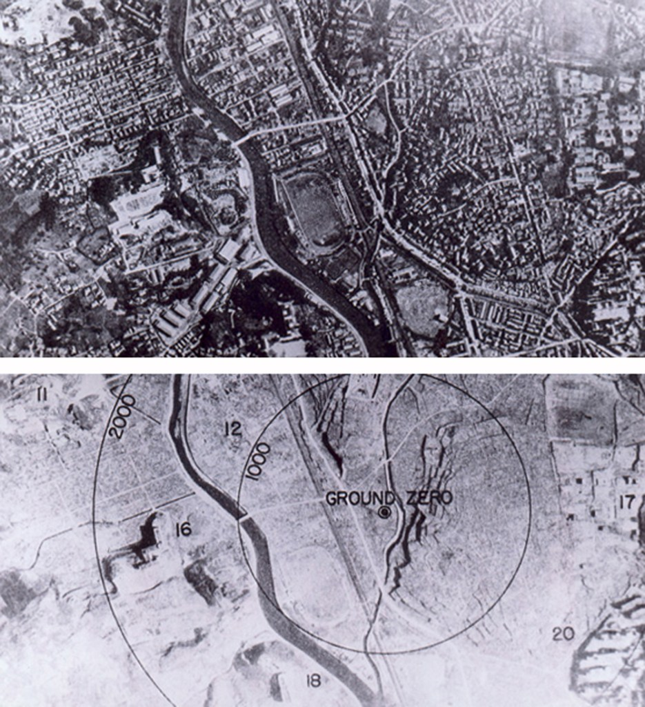 Aerial image of ground zero Nagasaki before and after the atomic bomb. After image has circles marked 1000 and 2000. Everything within the 1000 mark is wiped out. A damaged building or two stands in the 2000 circle. Pray for peace