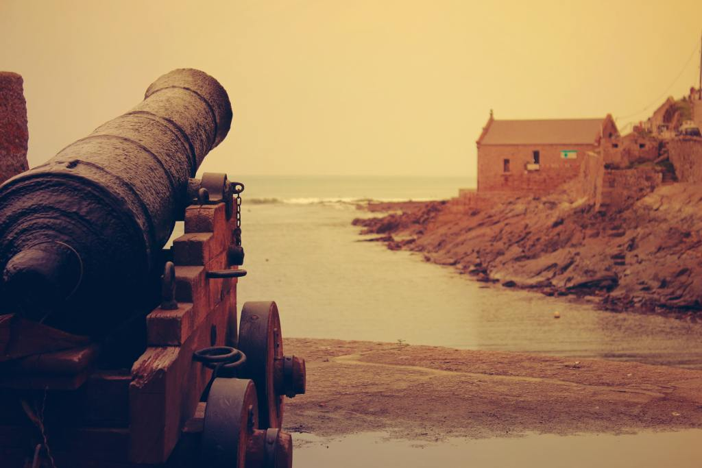cannon aimed at ocean defends the coast, why war--sometimes it's for defense