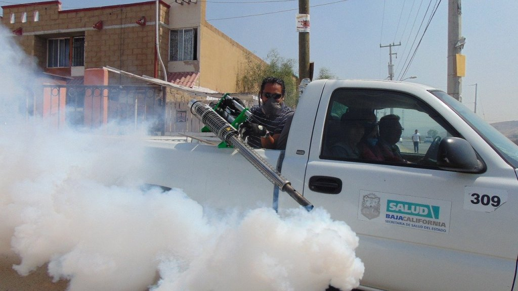 Truck fumigation of a city street. Should you worry about saboteur genetics or fumigation?